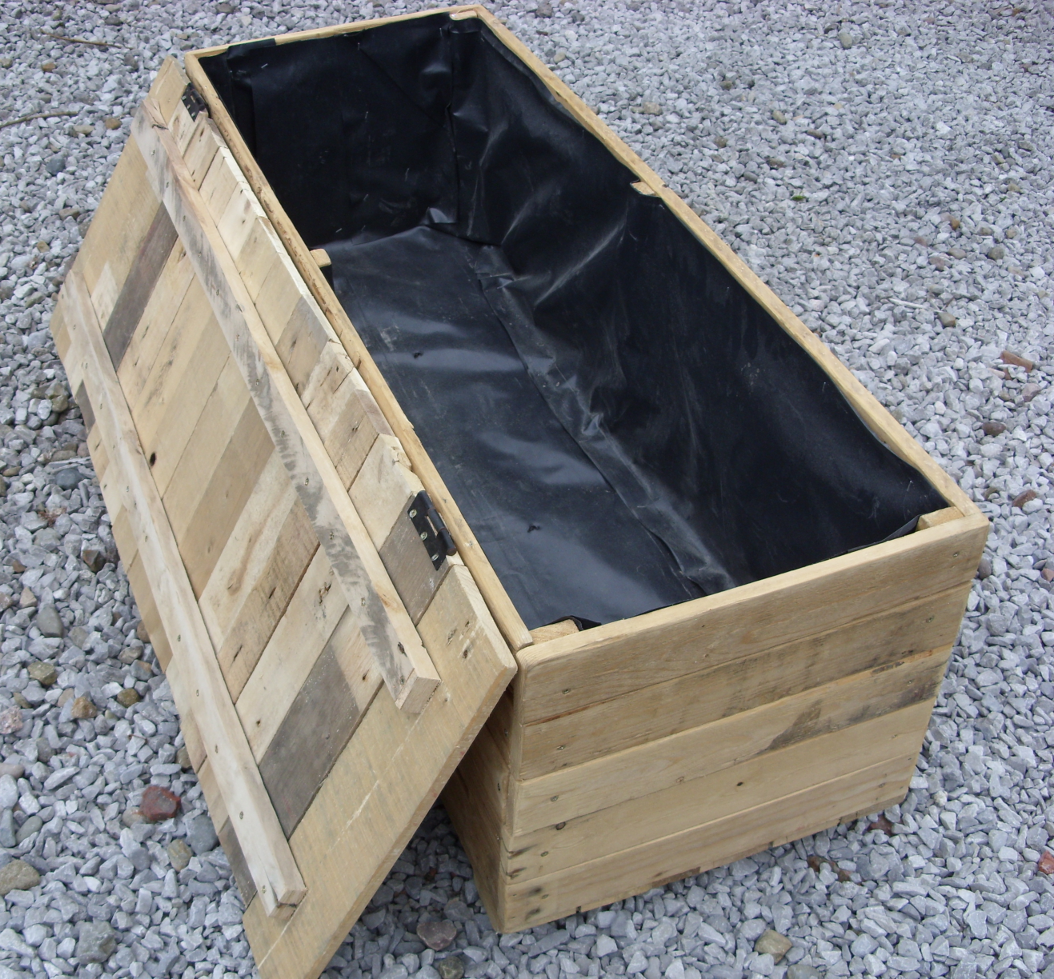 Pallet Tool Box Storage Unit With Hinged Lid