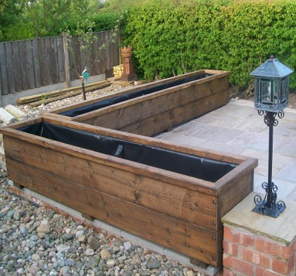 Large wooden planters custom sizes for Wooden garden planter designs