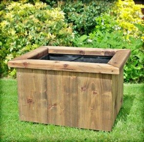 Deep Rustic Large Wooden Planter 750