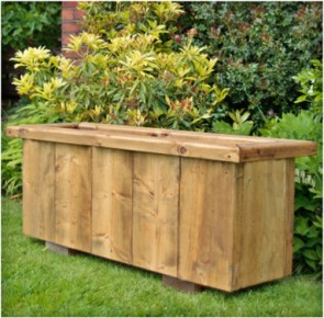 Deep Rustic Large Wooden Planter 1190 - Narrow